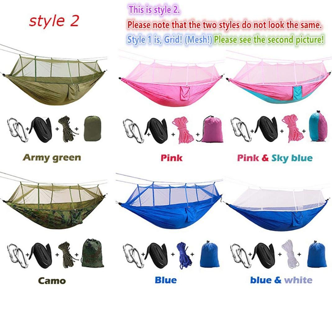 difcuyg5Ozw Portable Nylon Double Hammock,Outdoor Camping Travel Beach Swing Mosquito Net,Durable Fabric Easy Install,Multi Color Optional 5#