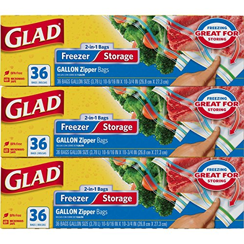 - Glad Food Storage and Freezer 2 in 1 Zipper Bags - Gallon - 36 Count - 3 pack