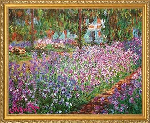 Gold Traditional Frame - Le Jardin De Monet a Giverny by Claude Monet. The Garden. Framed Art Print Poster. Custom Made Real Wood Traditional Gold Frame (22 1/8 x 18 1/8)