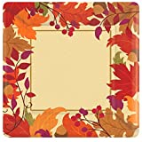 Amscan Festive Fall Metallic Disposable Paper Dessert Plates Autumn Party Tableware, Square, 7'', Pack of 18
