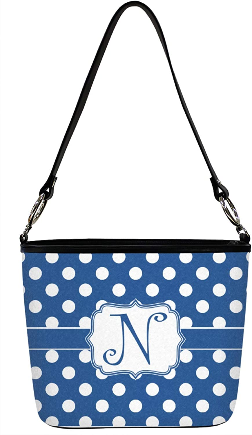 Polka Dots Bucket Bags w//Genuine Leather Trim Front Large Personalized
