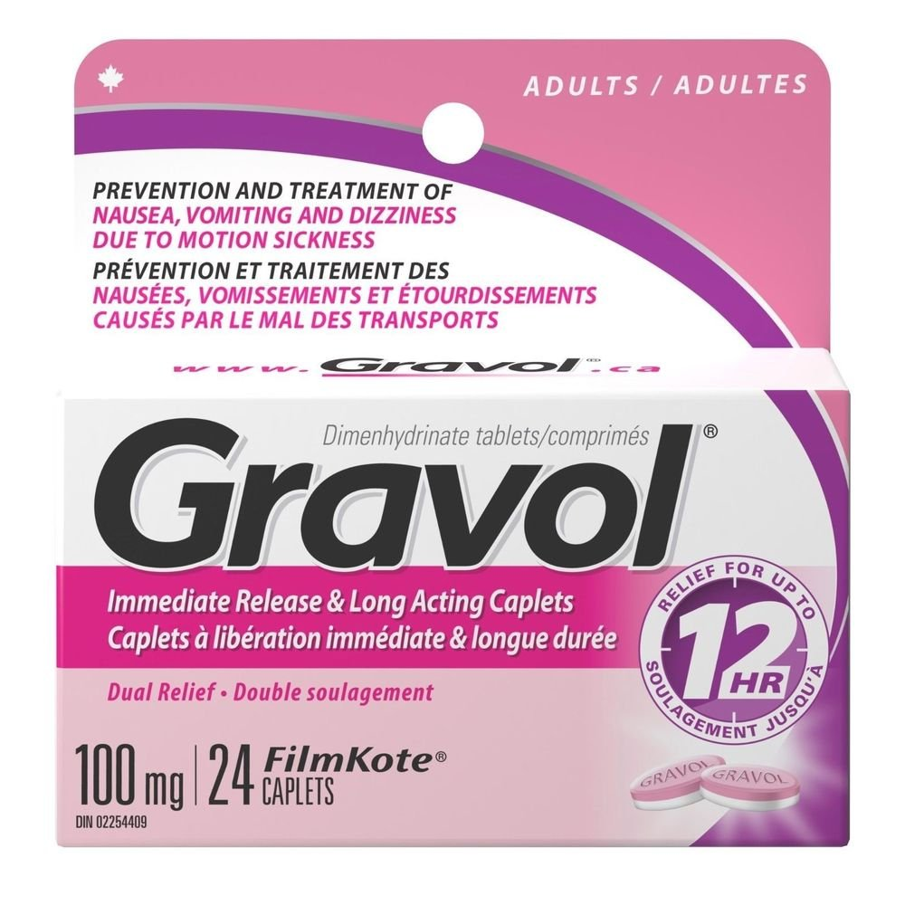 Dual Relief 12 Hour Long Lasting GRAVOL (24 caplets) Antinauseant for NAUSEA, VOMITING, DIZZINESS & MOTION SICKNESS