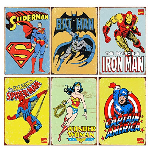 (SIGNT Metal Vintage Tin Sign Spider-Man,American Captain,Wonder Woman,Iron Man,Superman,Batman Superhero Signs Bundle Marvel Comic Cover Coffee Bar Wall Decor Home Sign Gift Flash Retro 6pcs-8x12)