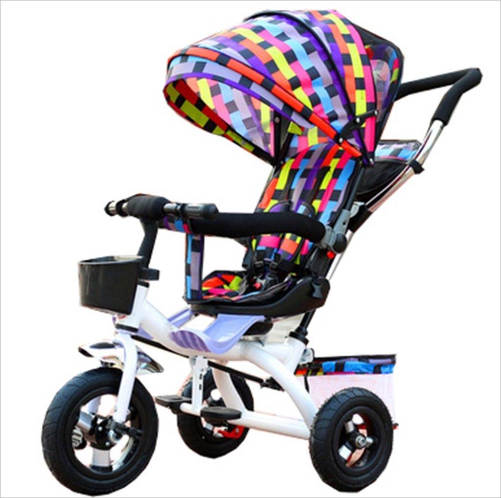 子供屋内屋外小型三輪車自転車の男の子の自転車の自転車6ヶ月-5歳の赤ちゃんスリーホイールトロリー、ダンピング/回転シート/アルミニウム合金のゴム製の車輪 (色 : 2) B07DV7TZ4B 2 2