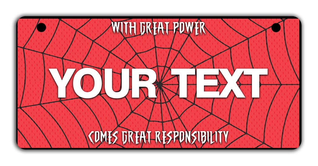 With Great Power Comes Great Responsibility Spider Web Bicycle Bike Stroller Childrens Toy Car 3x6 License Plate Tag BRGiftShop Personalize Your Own Superhero Series