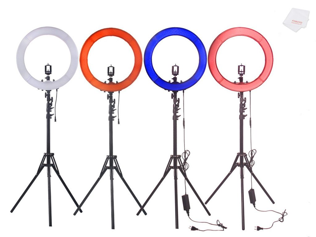 FOSOTO Camera Photo/Studio/Phone/Video 18''55W 240 LED SMD Ring Light 5500K Photography Dimmable Ring Lamp with Plastic Color/Tripod Stand by FOSOTO