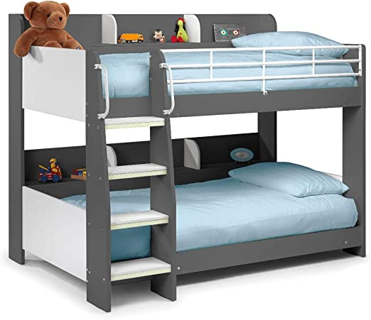 Happy Beds Domino Grey Wooden And Metal Kids Bunk Bed With Storage Shelves Frame Only 3 Single 90 X 190 Cm Amazon Co Uk Kitchen Home