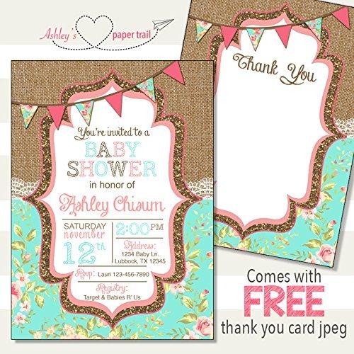 Burlap Lace Floral Baby Shower Invitatio - Elegant Baby Shower Invitations Shopping Results