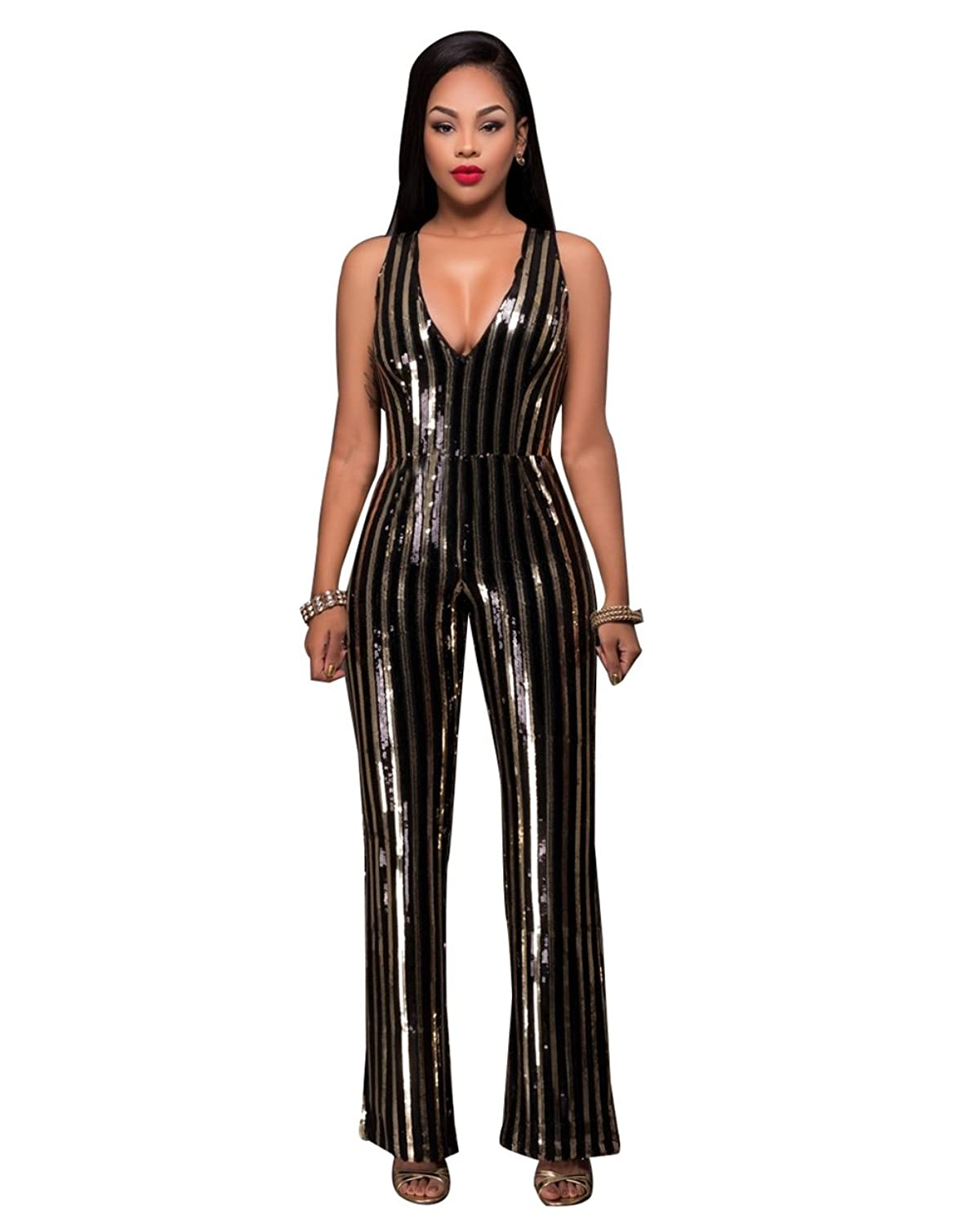 Womens Sexy V Neck Sequin Splice Mesh Sleeveless Party Clubwear Jumpsuit Romper