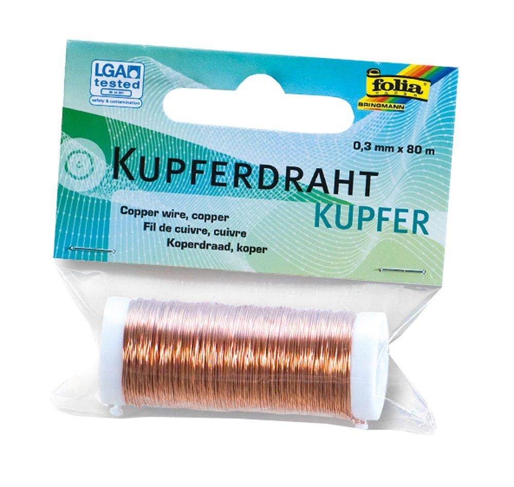 Folia 79244 - Kupferdraht, 0,3 mm x 80 m, kupfer: Amazon.de: Küche ...