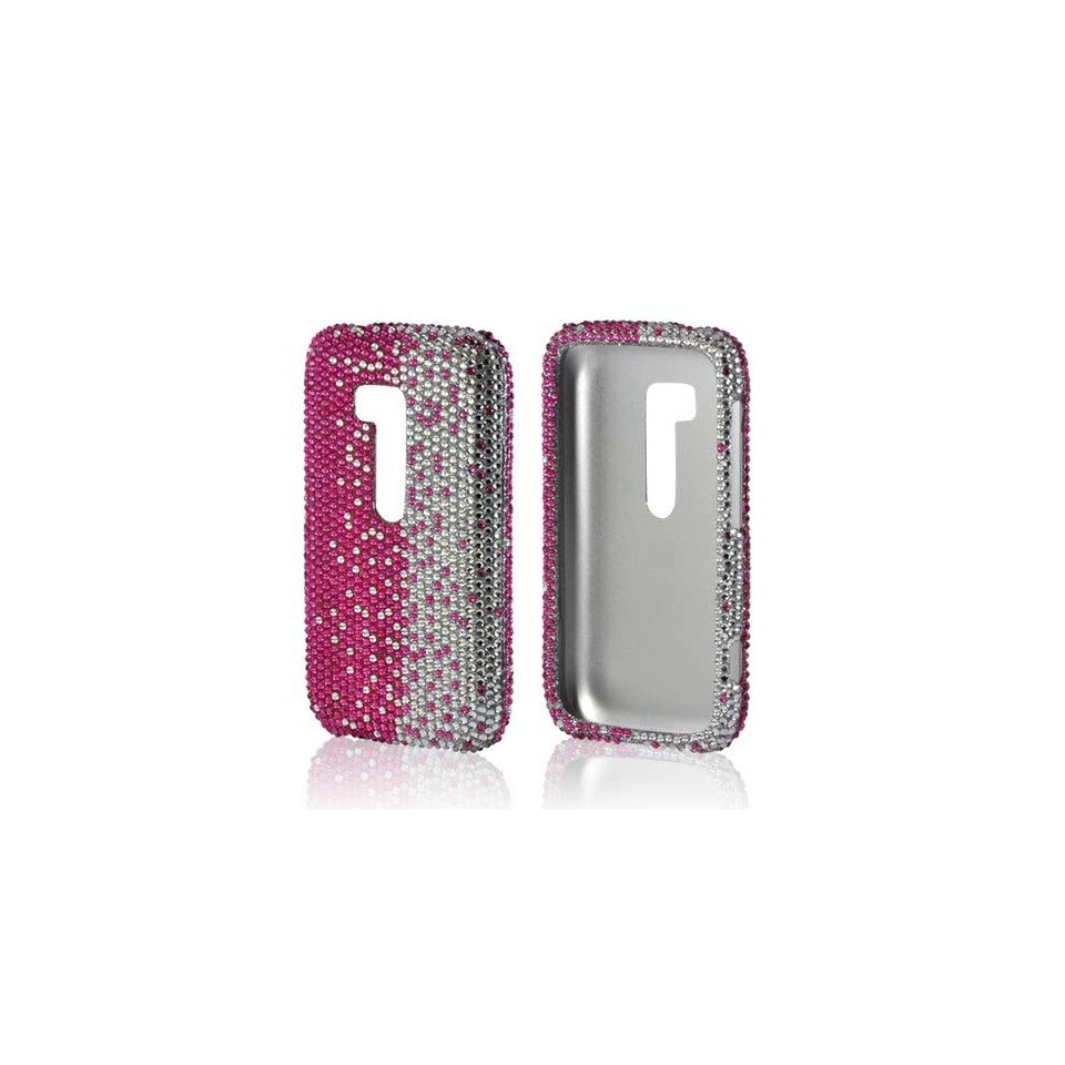Hot Pink/ Silver Gems Bling Nokia Lumia 822 Hard Case Cover; Fashion Jeweled Snap On Plastic Case; Perfect Fit as Best Coolest Design Cases for Lumia 822/Nokia 822 Compatible with Verizon, AT&T, Sprint,T Mobile and Unlocked Phones