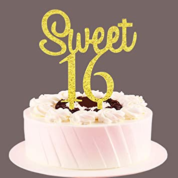 Tremendous Sweet 16 Cake Topper Gold Sweet Sixteen Cake Decors 16Th Funny Birthday Cards Online Alyptdamsfinfo