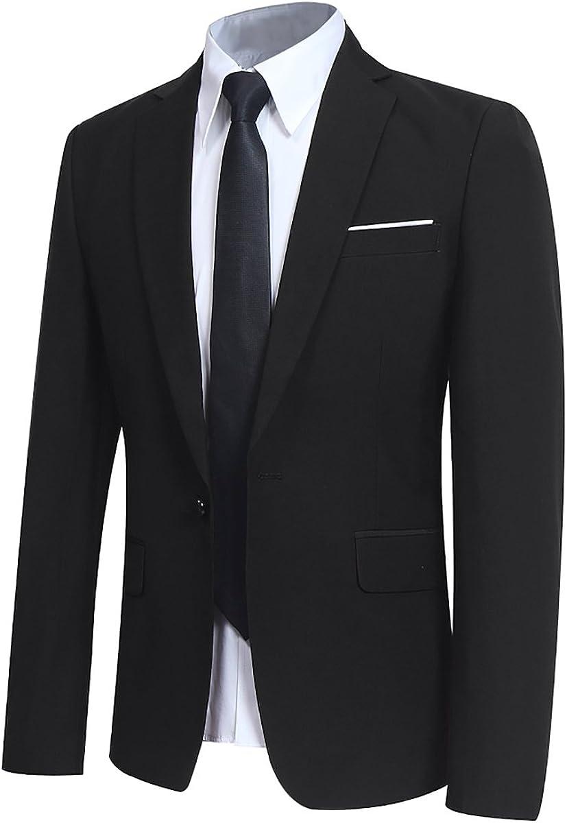 Mens Slim Fit 3 Piece Suit One Button Blazer Tux Vest & Trousers