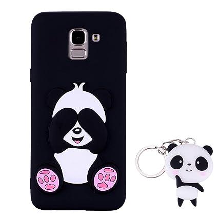 HopMore Panda Funda para Samsung Galaxy J6 Plus (J6+) 2018 Silicona con Diseño 3D Divertidas Carcasa TPU Ultrafina Case Antigolpes Caso Protección ...