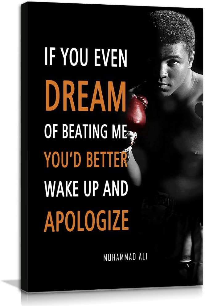 Boxing Sports Decor • Muhammad Ali Quote Poster Inspirational Canvas Wall Art • Motivational Artwork Modern Home Decor For Home,Office,Gym,Classroom Wall Decor Framed Ready to Hang