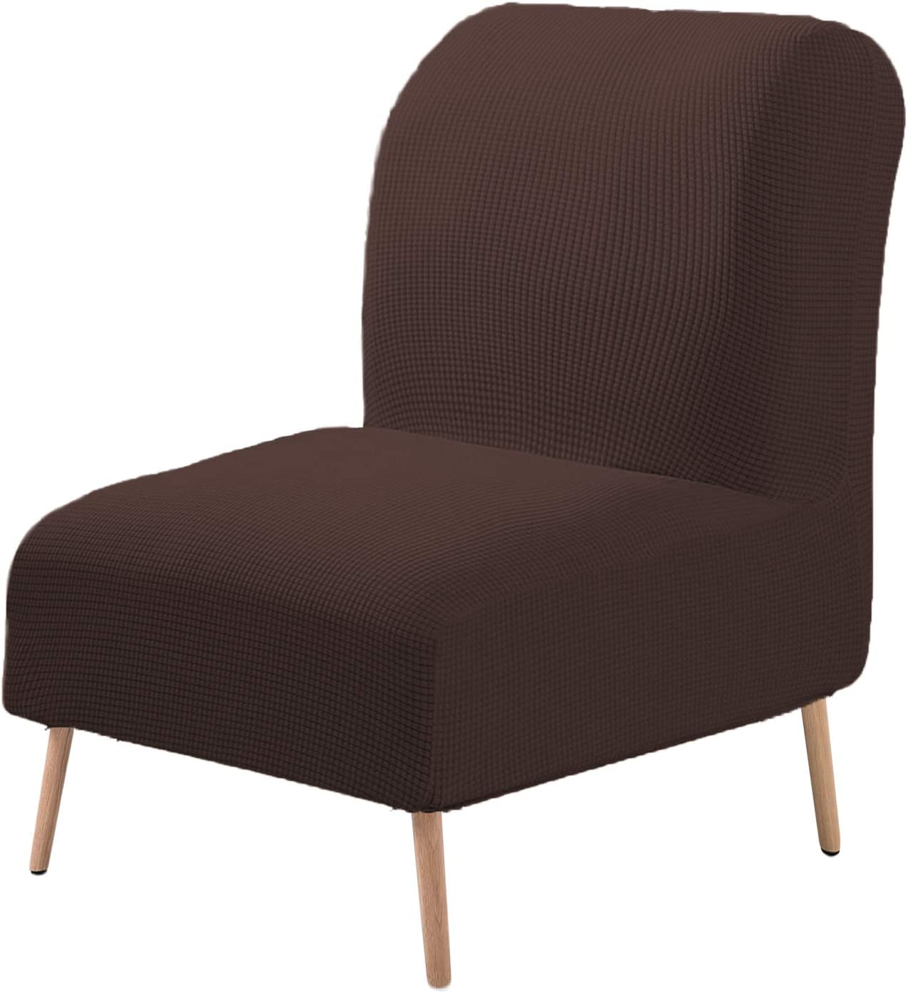 V-TIMMIX Armless Accent Chair Cover Slipcover Stretch Jacquard Furniture Protector,Armless Chairs Modern Furniture Protector Removable Washable for Home Hotel(Chocolate)