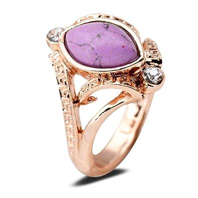 Yazilind Marquise corte redondo rosa anillo de lapislázuli claro circonitas cúbicas bañado en oro rosa M Mujer: YAZILIND JEWELRY LIMITED: Amazon.es: Joyería