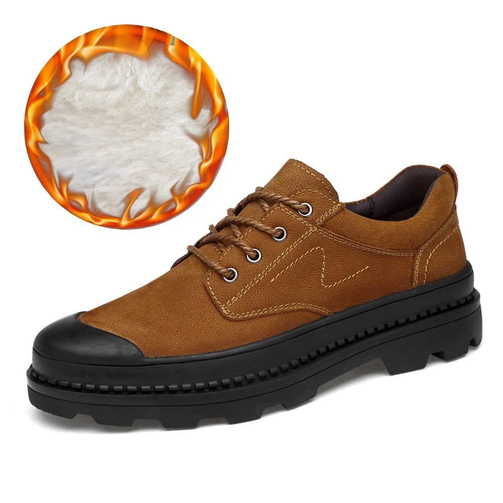 2018 Mens schuhe, Herrenmode Oxfords Schuhe, Casual Round Toe Verschleißfeste Gürtel Arbeitsschuhe (Farbe   Warm braun, Größe   46 EU)