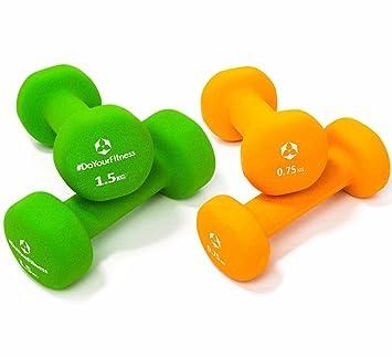 Set Ahorro de mancuernas neopreno »Peso« / Las pesas / Set: 2x naranja y verde (0,75kg / 1,5kg): Amazon.es: Deportes y aire libre