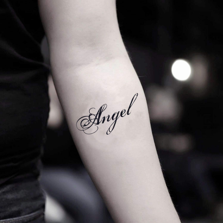 Amazon.com Angel Name Temporary Fake Tattoo Sticker (Set of