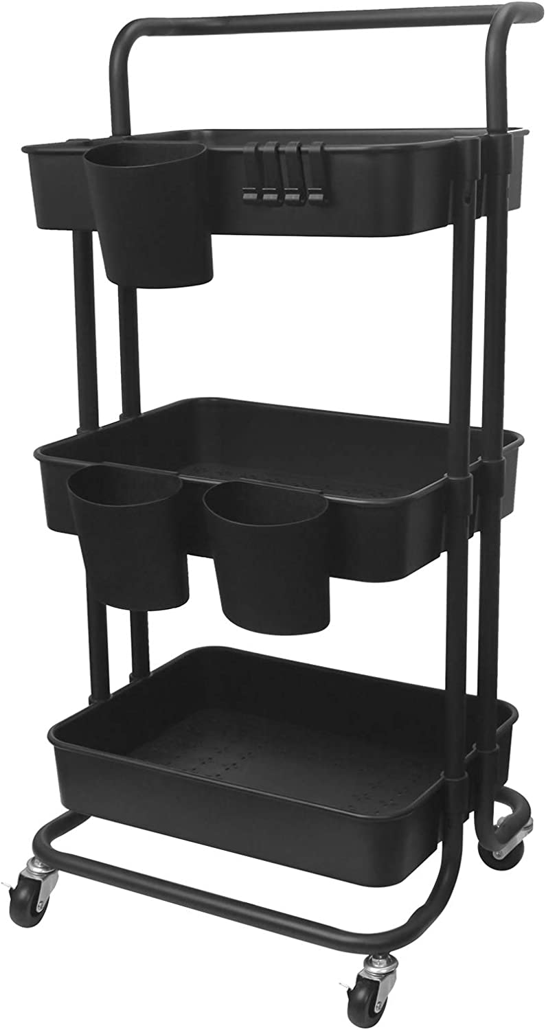 YOLIYOQU 3 Tier Rolling Cart Storage Shelves Multifunction Storage Trolley Service Cart with Handle, 3 Baskets and 4 Hooks, Locking for Kitchen, Bathroom, Office, Living Room