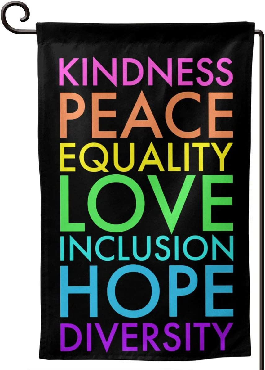 AIJEESI Kindness Peace Equality Love Inclusion Hope Diversity Garden Flag Double Sided Spring Summer Yard Outdoor Decorative 12.5 x 18 Inch