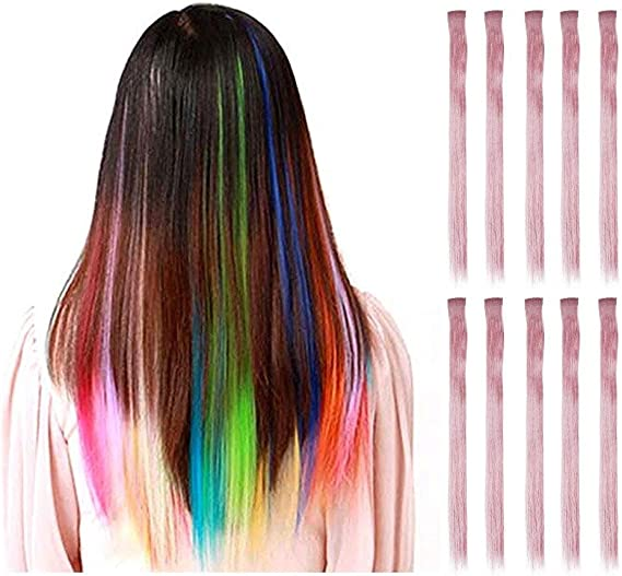 Aolvo - Extensiones de pelo de colores rectos, 10 unidades ...