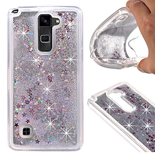 Price comparison product image LG Stylo 2 Case - GreenElec Funny Liquid Quicksand Bling Adorable flowing Floating Moving Shine Glitter Case With Soft Silicone Around Bumper Protection Case S, ilver