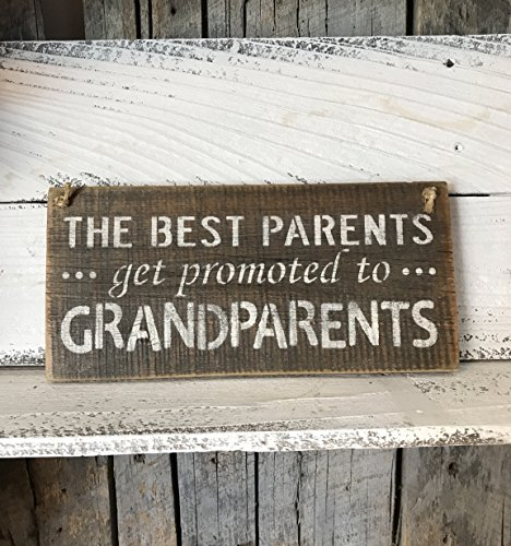 The Best Parents Get Promoted To Grandparents Barn Wood Plaque