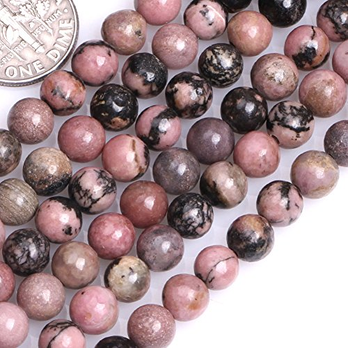 GEM-inside Rhodonite Gemstone Loose Beads Natural 6mm Round Crystal Energy Stone Power For Jewelry Making 15