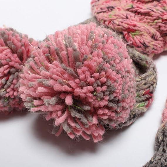 MERRYHE Mujeres Niñas Gorros De Invierno Sombreros Guantes Bufanda Conjunto  Cálido Gorras Elásticas Bufandas Gorro con Piel Sintética Pom Pom Rosa ... 555a848c3c3