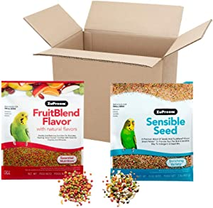 ZuPreem FruitBlend Flavor Pellets & Sensible Seed for Small Birds, 4 Lbs. Total - Essential Nutrition & Enriching Variety Bundle