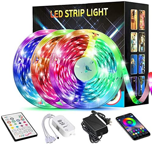 50FT/15M LED Strip Lights,TATUFY LED Light Strips Bluetooth Wireless Smart Phone App Controlled Music 5050 RGB Tape Lights for Home Party Birthday Bar Club Decoration