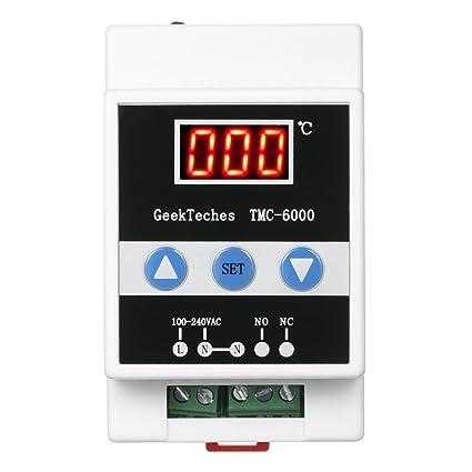 KKmoon TMC-6000 110-240V Temperatura Controlador Guía Carril Digital Termostato Refrigeración Calefacción 1