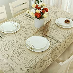 "ColorBird Shabby Chic Cotton Linen Tablecloth Letter Printed Macrame Lace Dustproof Table Cover for Kitchen Dinning Pub Tabletop Decoration (Square, 55""55"", Postmark)"