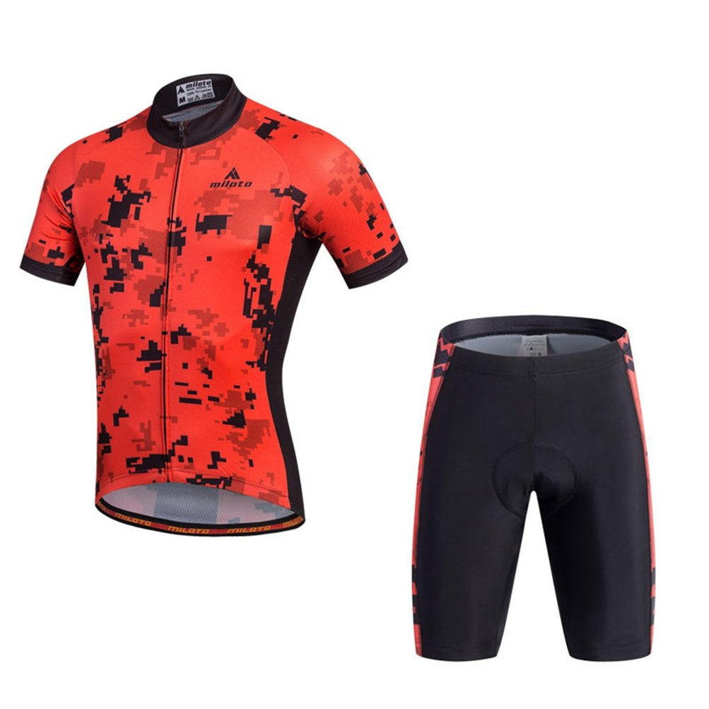 Uriah メンズ サイクリングジャージーとショーツセット 半袖 反射 Small Pixel Red B06Y5MW1ZW