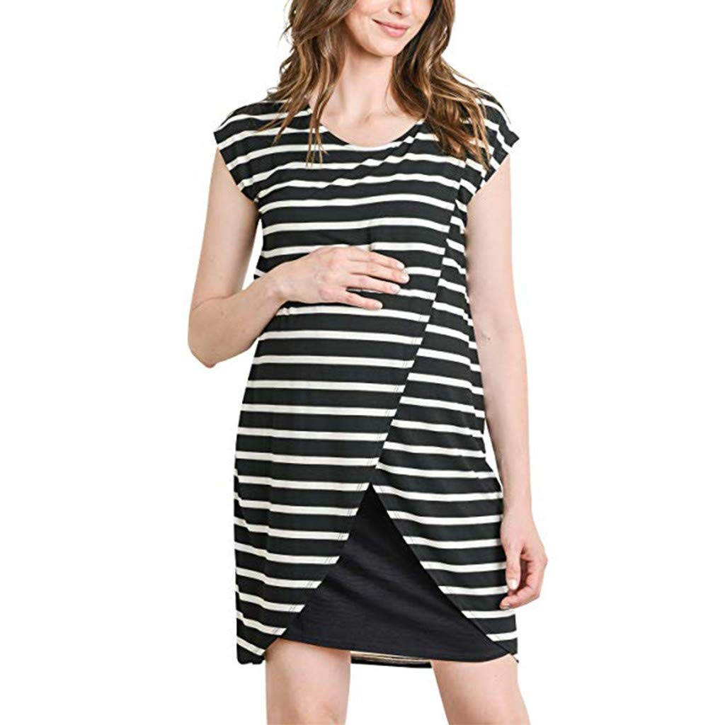 Women Maternity Dresses,Casual Stripe Sleeveless Slim Fit Nursing Wrap Breastfeeding Shirt (L, Black)