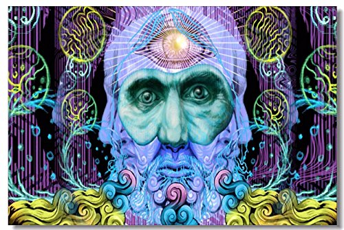 SmartWallStation 1x Poster Psychedelic Trippy Colorful Ttrippy Surreal Abstract Astral Digital Art Office Home Room Wall Deco 35.5×23.5 (90x60cm) (041)