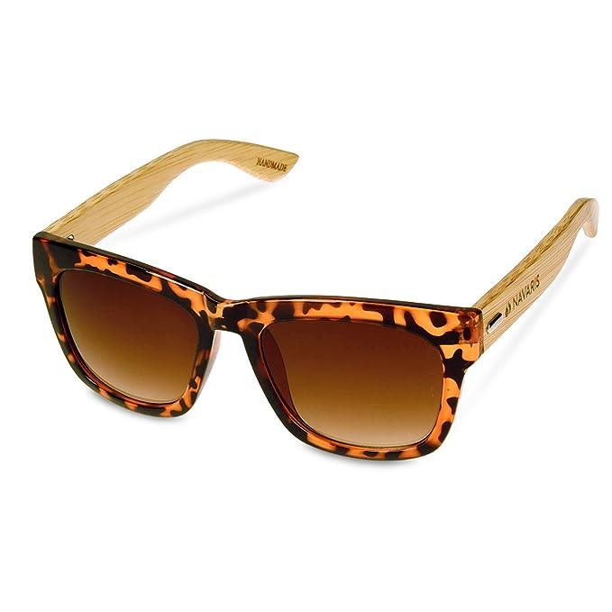 Navaris Gafas de sol UV400 Gafas de madera para hombre y mujer - Lentes de bambú unisex y funda - Gafas diferentes colores - Color marrón