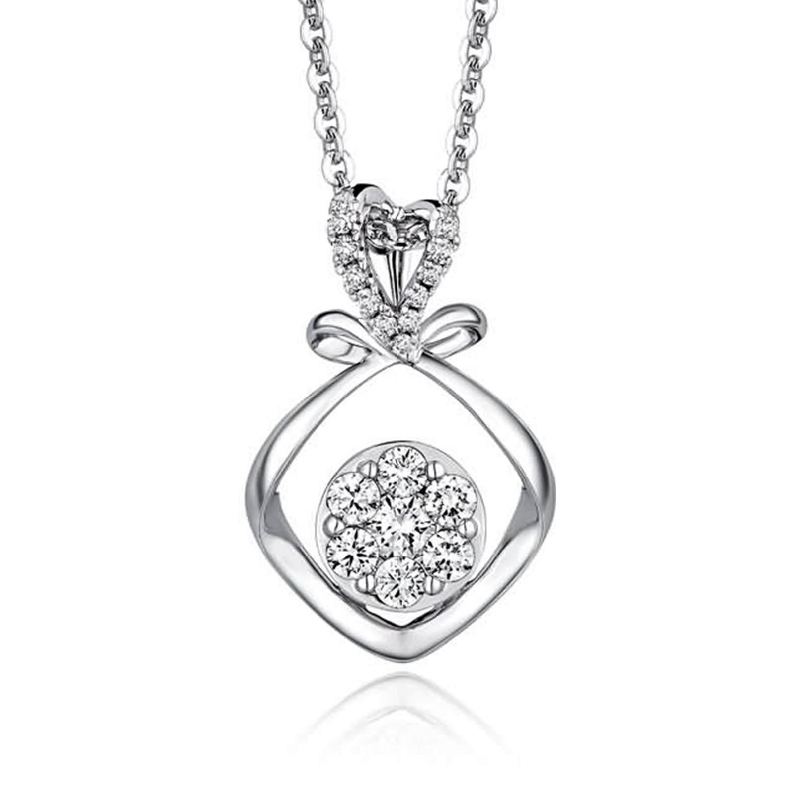 Beydodo Women Necklace,18k Real White Gold 0.98g Love Knot Pendant Round Brilliant Diamond Necklace