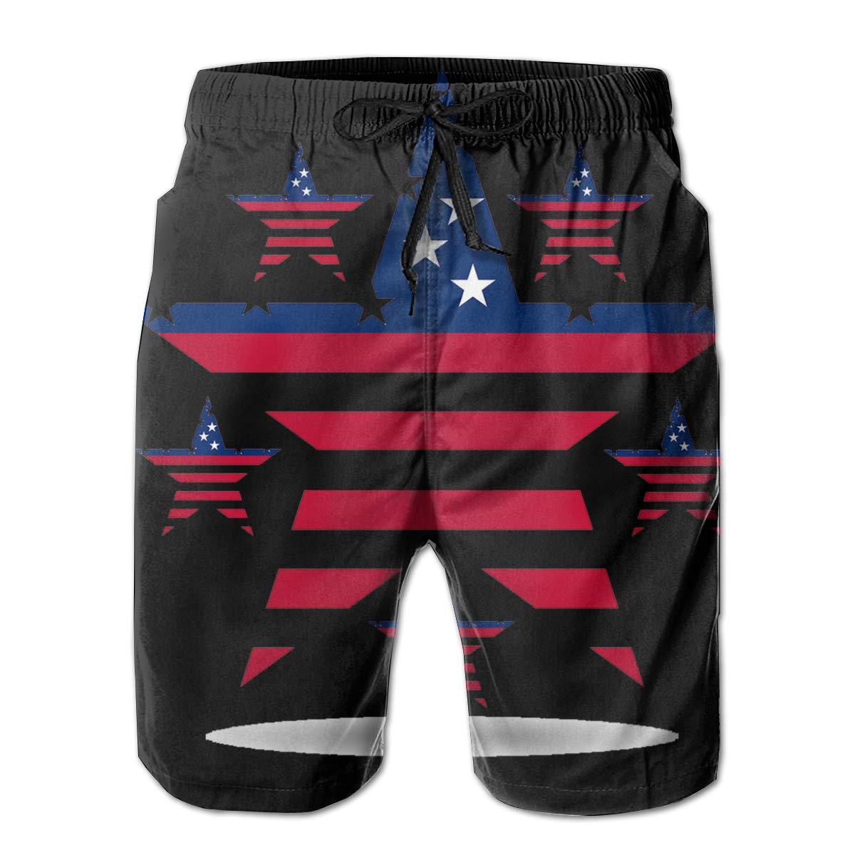 HZamora/_H Mens USA Flag in Stars Shape Summer Breathable Quick-Drying Swim Trunks Beach Shorts Cargo Shorts