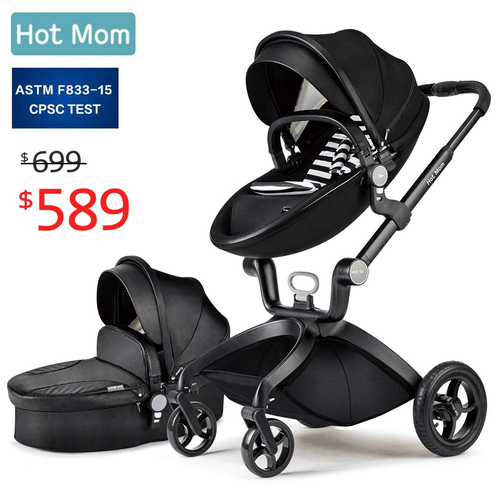 Baby Stroller 2018, Hot Mom Baby Carriage with Bassinet Combo,Black by Hot Mom