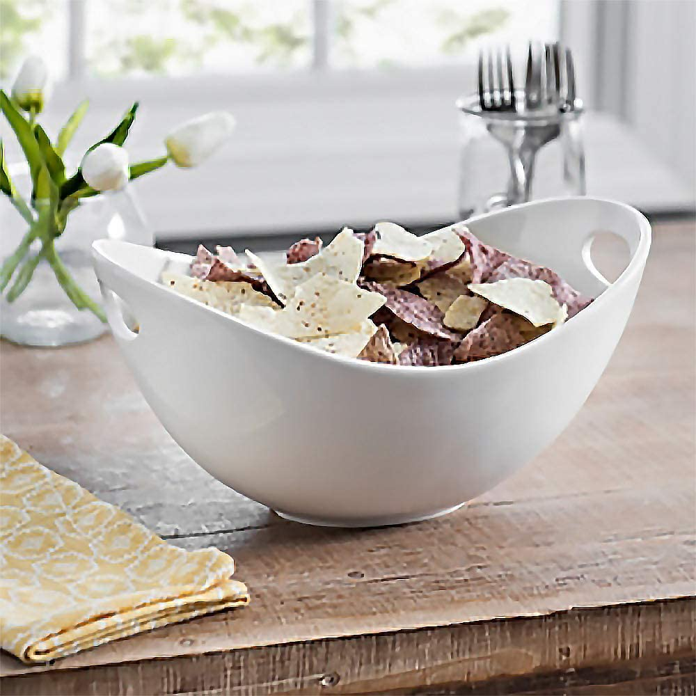 Large Ceramic Serving Bowl Chips and Dip White Salad Bowl with Cut-Out Handles 12 inch Salad and Pasta For Snacks