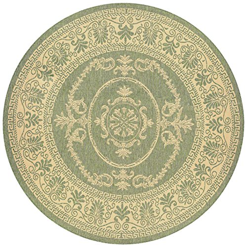 Couristan 1078/1812 Recife Antique Medallion/Green-Natural 8-Feet 6-Inch Round Rug - 1812 Rug