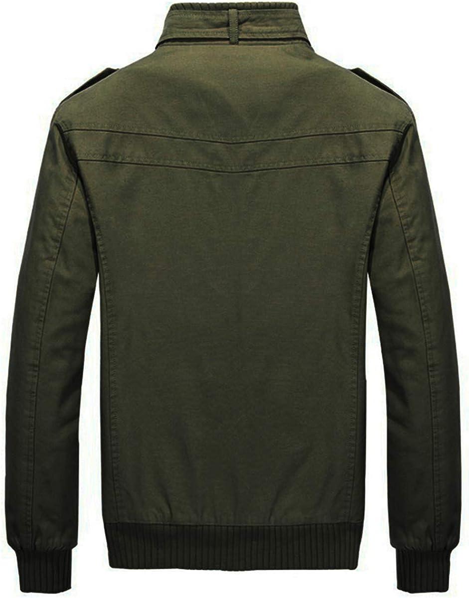 YOUTHUP Mens Bomber Jackets Casual Cargo Military Jacket Autumn Zipper Windbreaker Coat