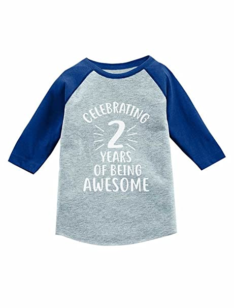 f174cedc06319 Amazon.com: 2 Years of Being Awesome! 2nd Birthday 3/4 Sleeve ...