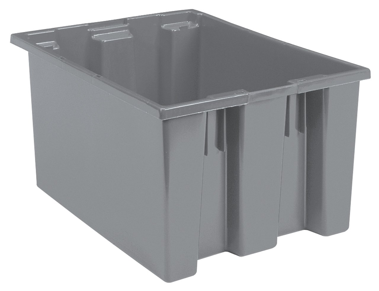 Akro-Mils 35230 Nest and Stack Plastic Storage and Distribution Tote, 23.5-Inch L by 19.5-Inch W by 13-Inch H, Grey, Case of 3