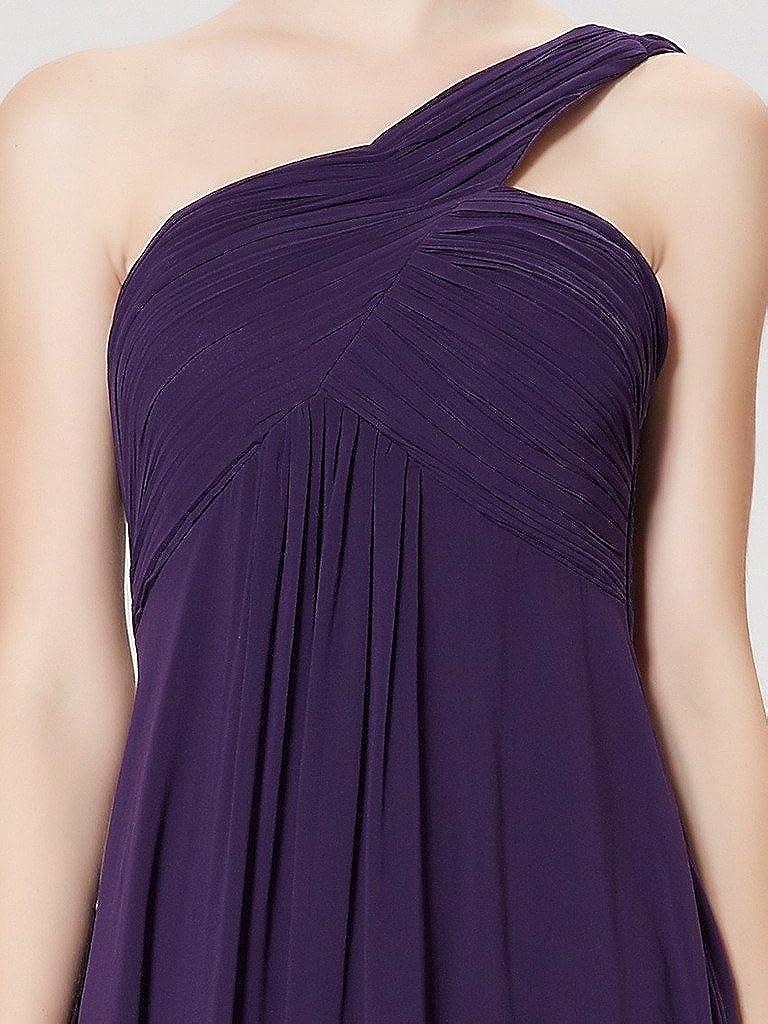 Aurora Bridal Womens One Shoulder Chiffon Evening Dress