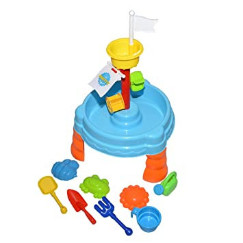 Playa arena y agua mesa de juegos para niños con doble rueda rueda de arena,