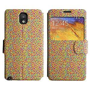 Be-Star Diseño Impreso Colorido Slim Casa Carcasa Funda Case PU Cuero - Stand Function para Samsung Galaxy Note 3 III / N9000 / N9005 ( Pixelated Pattern )